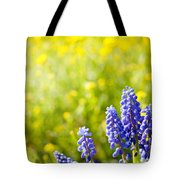 Blue Muscari Mill Bunches Of Grapes Close-up  Tote Bag