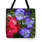 Purple Pansy Flowers By Line Gagne Tote Bag