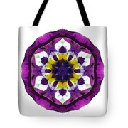 Purple Pansy II Flower Mandala White Tote Bag