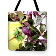 Purple Passion And Dragonfly Pot Tote Bag