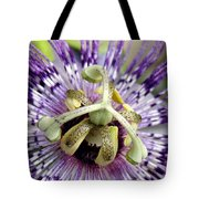 Purple Passion Flower Close Up  Tote Bag
