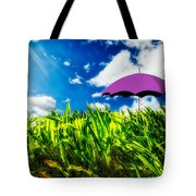 Purple Umbrella In A Field Of Corn Tote Bag