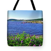 Purple Vetch Overlooking Rocky Harbour-nl Tote Bag