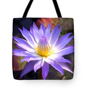 Purple Waterlily With Fall Lilypads Tote Bag