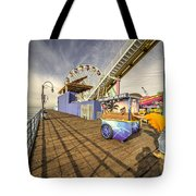 Pushing On The Pier Tote Bag