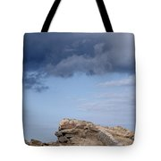 Cala Mesquida Stone Wall Against Rocks With A Stormy Sky Above - Putting Walls To Heaven Tote Bag