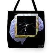 Pyramidal Neuron And Brain Tote Bag