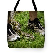 Python Snake In The Grass And Running Shoes Tote Bag