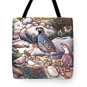 Quail Family Tote Bag by Nadi Spencer