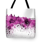 Quebec Skyline In Pink Watercolor On White Background Tote Bag