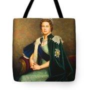 Queen Elizabeth II Portrait - Oil On Canvas Tote Bag