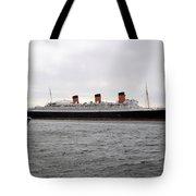 Queen Mary Ocean Liner Full Starboard Side 03 Long Beach Ca Tote Bag