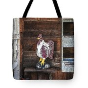 Quiet Rooster Wood Carved Tote Bag
