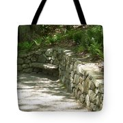 Bench In A Stone Wall Tote Bag