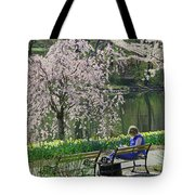Quiet Time Among The Cherry Blossoms Tote Bag