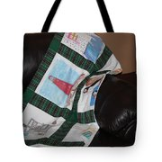 Quilt Newfoundland Tartan Green Posts Tote Bag by Barbara Griffin