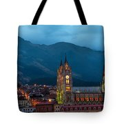 Quito Basilica At Night Tote Bag