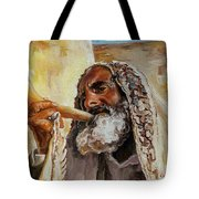 Rabbi Blowing Shofar Tote Bag