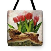 Rabbit And Pink Tulips Tote Bag