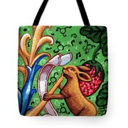 Rabbit Plays The Flute Tote Bag
