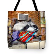 Raccoon On The Wall Tote Bag