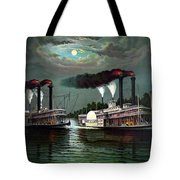 Race Of The Steamers Robert E Lee And Natchez Tote Bag