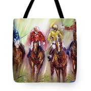 Irish Racehorses Available As A Signed And Numbered Print See Www.pixi-.com Tote Bag