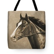 Racehorse Painting In Sepia Tote Bag