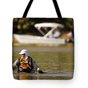 Racer Wading Across A River In An Tote Bag