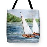 Racing On The Lake Tote Bag