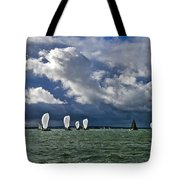Racing Yachts In The Solent Tote Bag