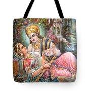 Radha Krishna Oil Canvas Painting Tote Bag