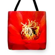 Radiant Red Cactus Flower Tote Bag