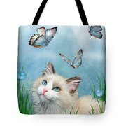 Ragdoll Kitty And Butterflies Tote Bag
