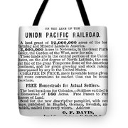 Railroad Land Sale, 1872 Tote Bag