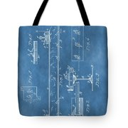 Railroad Tie Patent On Blue Tote Bag