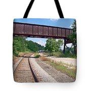 Railroad Train Tracks And Trestle Tote Bag