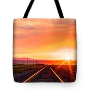 Rails To The Red Sky Tote Bag