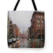 Rain On Water Street 1 Tote Bag