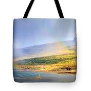 Rain Over Fjords Tote Bag