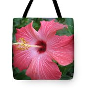 Rain Soaked Hibiscus Tote Bag