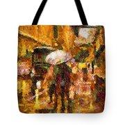 Rain Walk At Night Abstract Tote Bag
