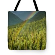 Rainbow And Sunlit Trees Tote Bag