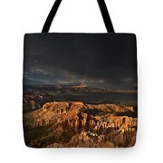Rainbow And Thunderstorm Over The Paunsaugunt Plateau  Tote Bag