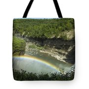 Middle Falls With Rainbow Tote Bag