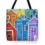 Rainbow Beach Huts Tote Bag