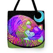 Rainbow Cat Blue Moon Tote Bag