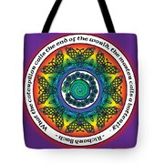 Rainbow Celtic Butterfly Mandala Tote Bag