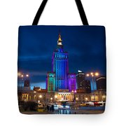 Palace Of Science And Culture In Rainbow Colors  Tote Bag