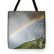 Rainbow From Spray Of Lower Yellowstone Falls Against Yellowstone Canyon Wall-wyoming  Tote Bag